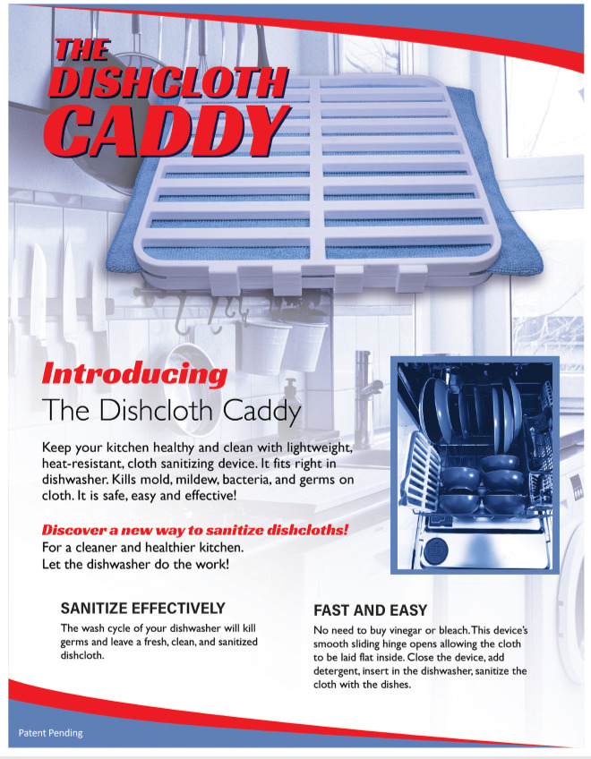 Dishcloth Caddy sell sheet we designed